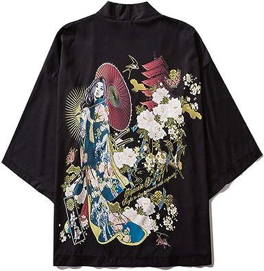 LYH Blusas Japonesas Kimono Carpa Roja Estampado Estilo Japonés Camisas Bata Blusa Tipo Cárdigan Tallas Grandes Estilo Harajuku_ 1_M: Amazon.es: Ropa y accesorios