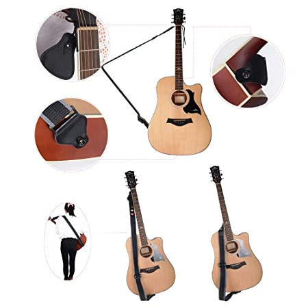 Correa para Guitarra 85-135cm Longitud Ajustable con 3 Púas Cinta Guitarra Eléctrica Acústica Bass Bajo: Amazon.es: Instrumentos musicales
