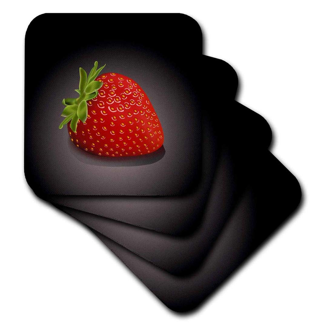 3dRose CST_101609_3 One Perfect Strawberry-Ceramic Tile Coasters, Set of 4