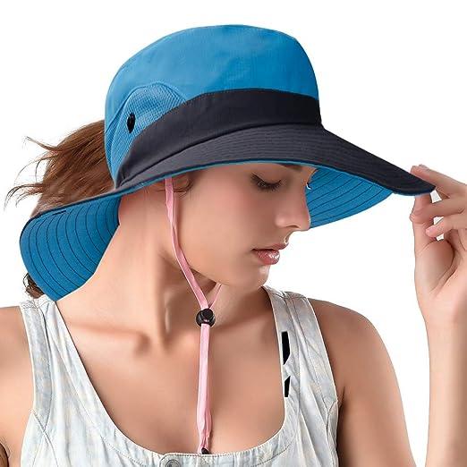 Rosoz Ponytail Sun Hats Foldable Mesh Wide Brim Beach Fishing for Women  (Blue) 6803d0abafd