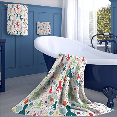 familytaste Octopus Popular bath towel set Ocean Themed Animals and Plants Jellyfish Shellfish Colorful Doodle Style Design fun hand towels set Multicolor by familytaste
