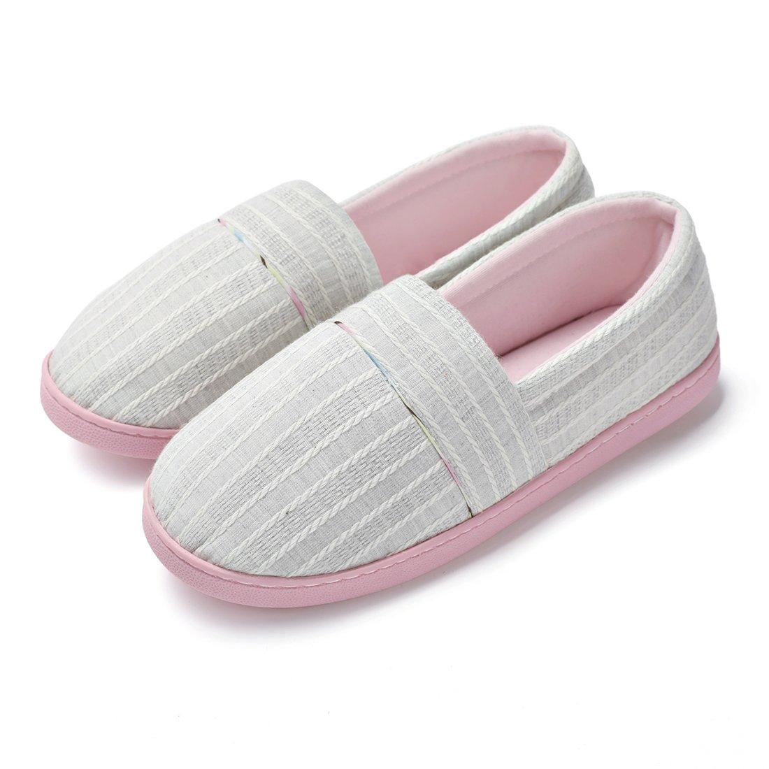ChicNChic Women Comfortable Cotton Knit Anti-Slip House Slipper Washable Slip-On Home Shoes (8-8.5 B(M) US, Light Grey)