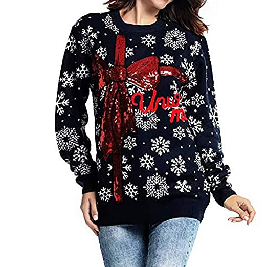 a375b5572c4f6 Amazon.com: VonVonCo Pullover Sweaters for Women, Long Sleeve Print ...