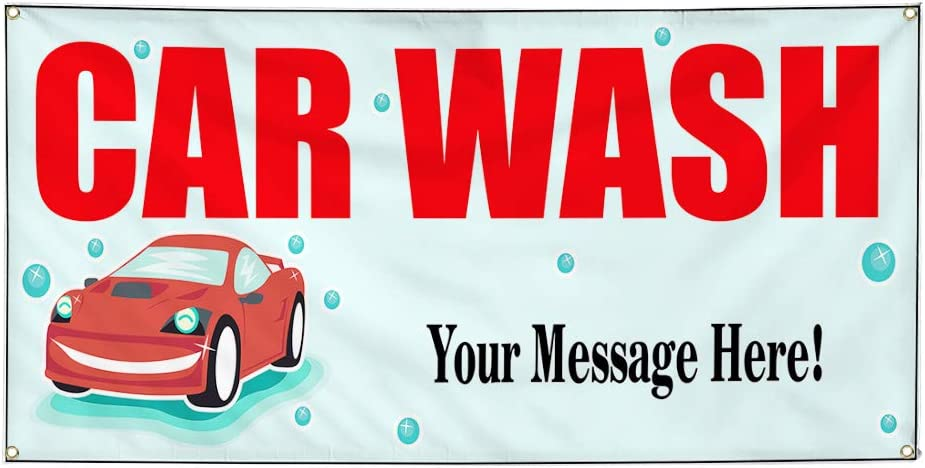 Custom Industrial Vinyl Banner Multiple Sizes Car Wash Style B Personalized Text Here Automotive Outdoor Weatherproof Yard Signs Red 10 Grommets 56x140Inches