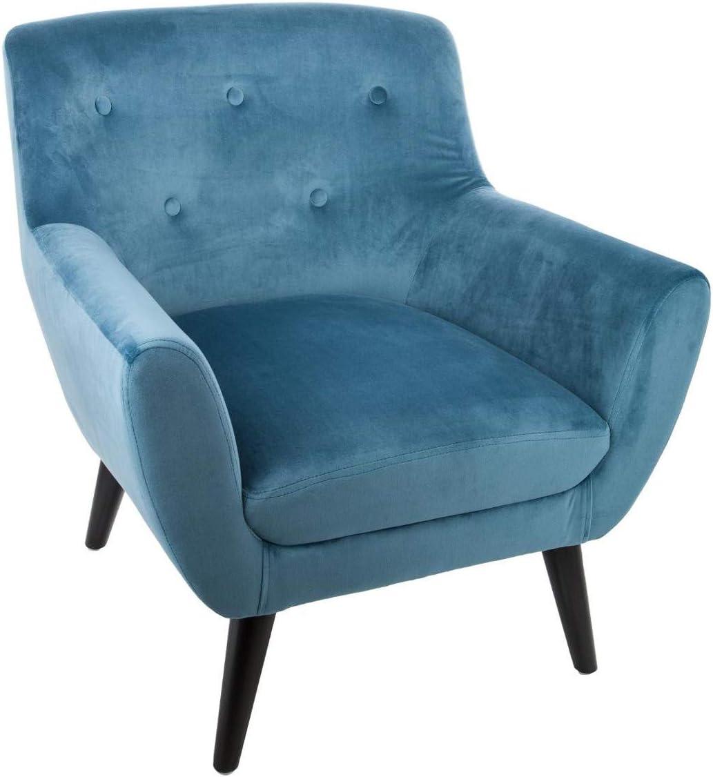 Bleu 72 x 68 x 70,5 cm Bois Fauteuil velours Eole