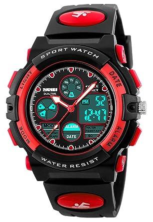 Gosasa niños Digital LED Dual Display Relojes de pulsera niños reloj de cuarzo Relogio multifunción 50 m impermeable niños deportes relojes rojo: Amazon.es: ...