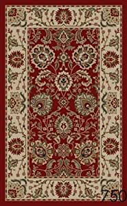 Amazon Com New Tabriz Red Floral Design Rubber Backed