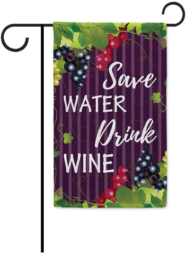 BAGEYOU Save Water Drink Wine Decorative Garden Flag Grape Vines Spring Summer Yard Banner for Outdoor 12.5X18 Inch Printed Double Sided