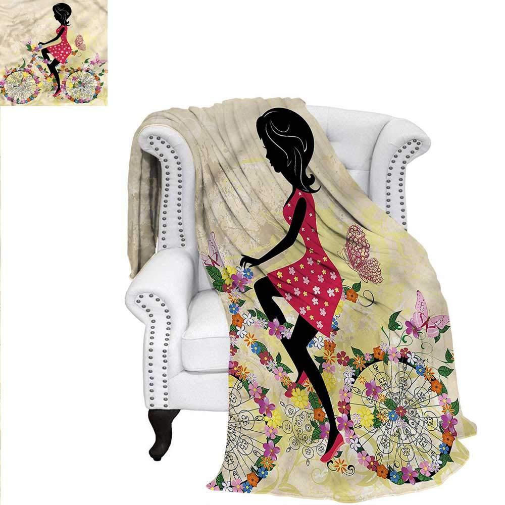 RenteriaDecor 女の子用スローブランケット ファッションアクセサリー テーマ カスタムデザイン 居心地の良いフランネルブランケット 80