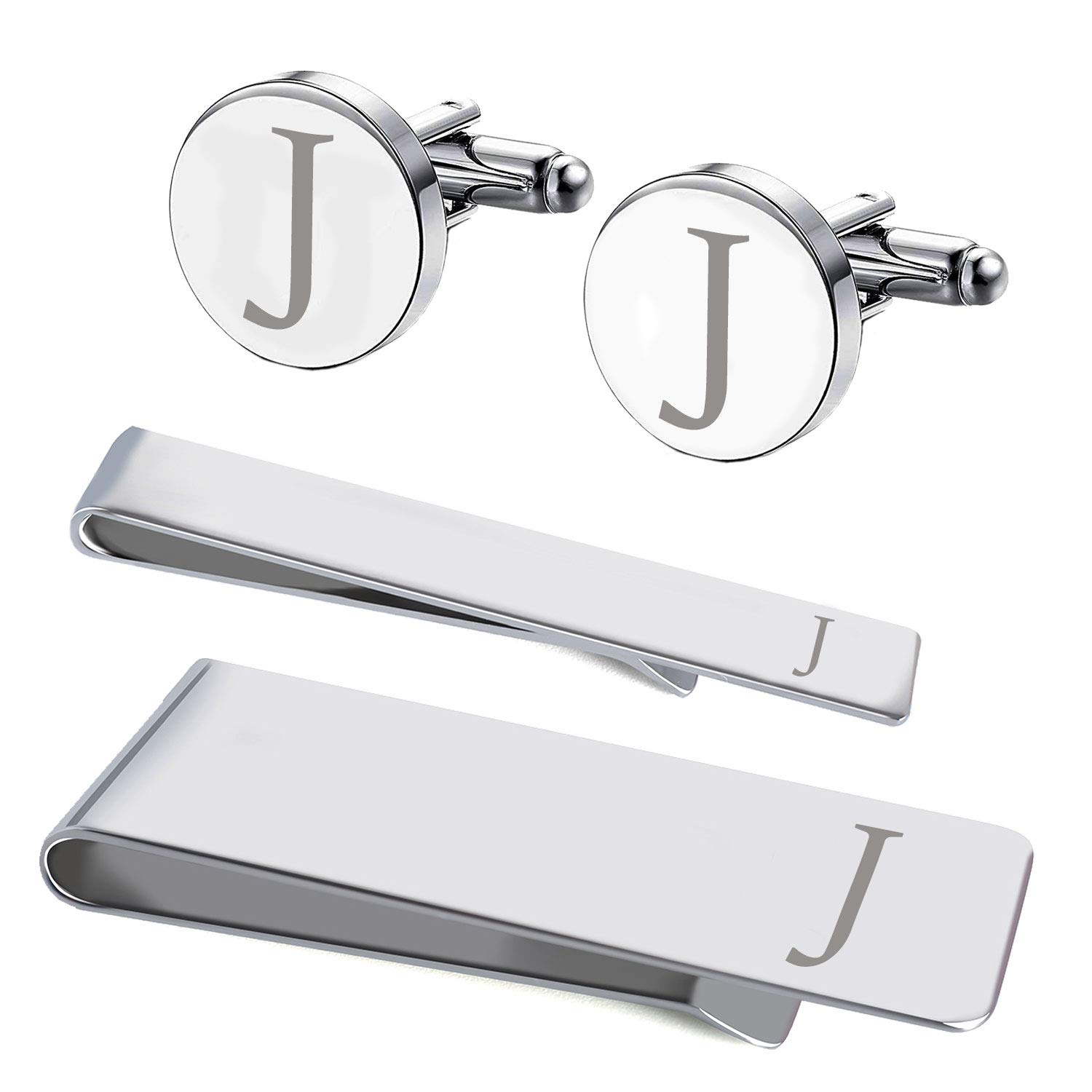 BodyJ4You 4PC Cufflinks Tie Bar Money Clip Button Shirt Personalized Initials Letter J Gift Set