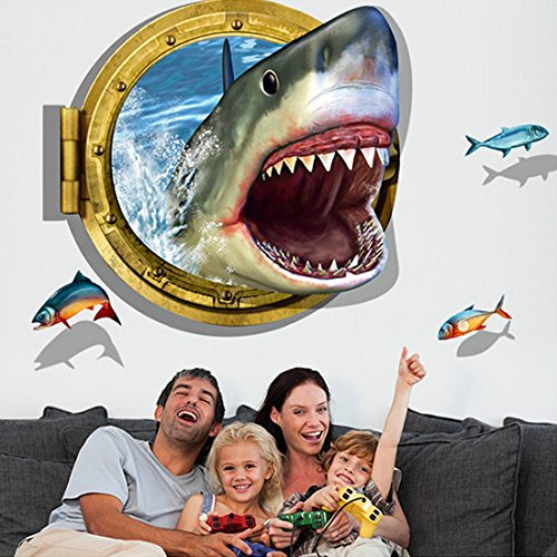 3D Style Shark Fishes Wall Sticker Paper Home Decal - 1