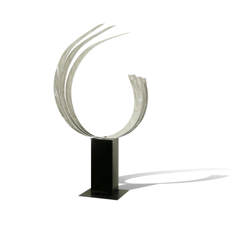 Statements2000 Large Silver Abstract Garden Sculpture - Yard Art - Modern Metal Art - Poolside Accent - Triple C By Jon Allen