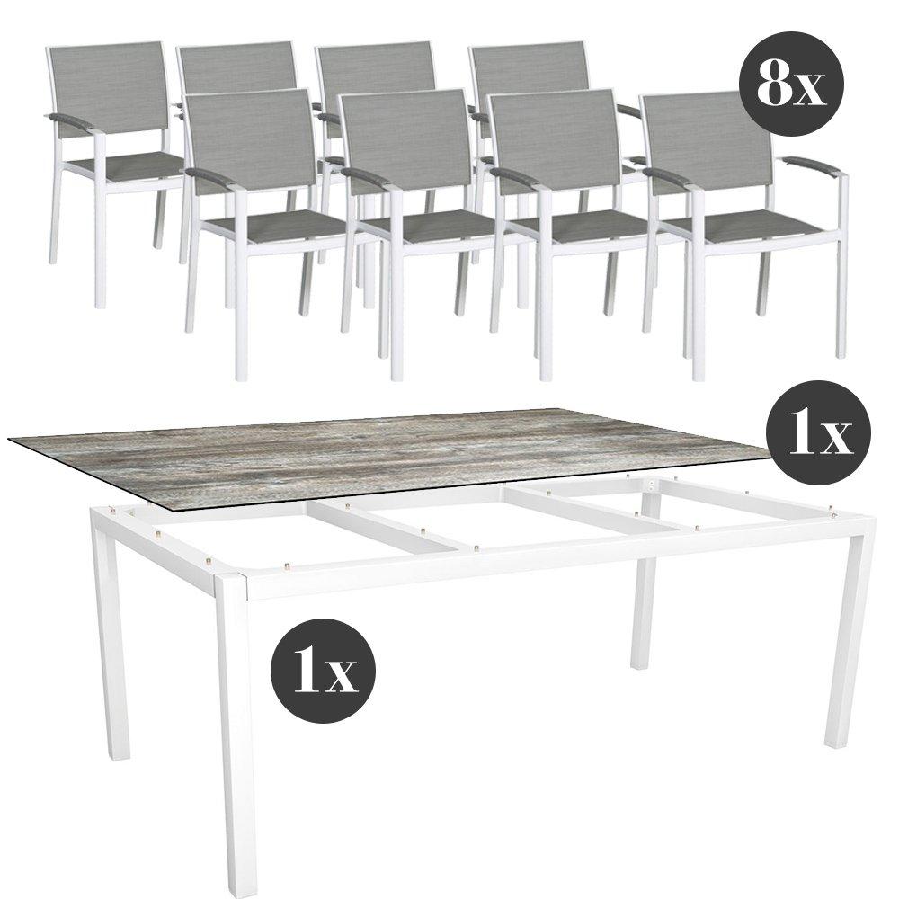 Gartenmöbel-Set - 8x Stern Stapelsessel Lola mit Stern Tisch 200x100 cm Aluminium weiß und Silverstar 2.0 in Tundra grau