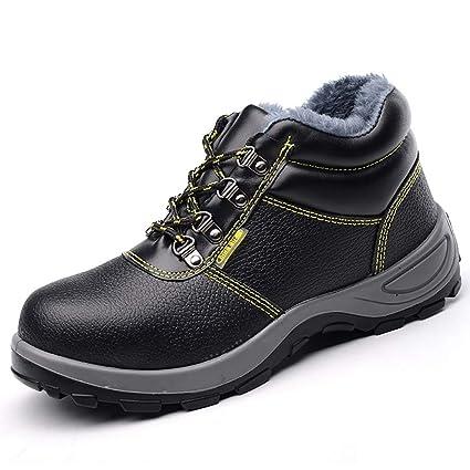 XBXZ Zapatos de Seguridad Ropa de Trabajo Béisbol, Zapatos de Seguridad para Hombre, Negro