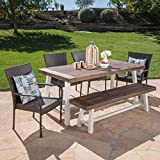 Great Deal Furniture 303913 Cecilia Outdoor 6 Piece Stacking Multibrown Wicker Dining Set with Dark Brown Sandblast Finish Acacia Wood Table and Bench, White Rustic Metal