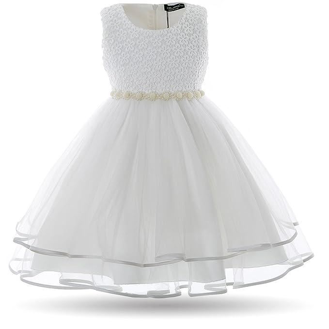 Cielarko Vestido Elegante de Gala Boda Fiesta para Niñas Blanco 10-11 Años