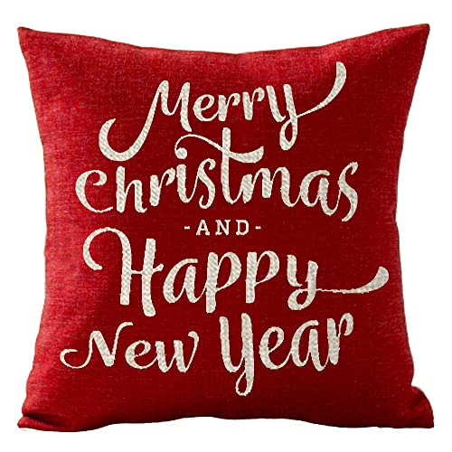 gawekiqe merry christmas and happy new year gift holiday cotton linen throw pillow cover cushion case