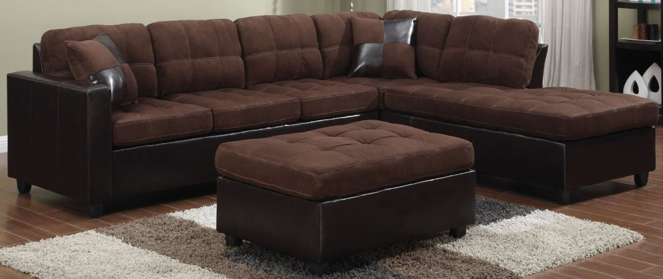 Amazon.com Coaster Home Furnishings Mallory Modern Biscuit Tufted Reversible Stationary Sectional - Chocolate Microfiber / Dark Brown Faux Leather Kitchen ... : coaster sectional sofa - Sectionals, Sofas & Couches