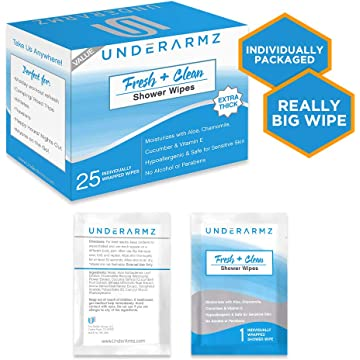 best selling Shower Wipes for Travel. 25 Individually Wrapped Wet Wipes Unscented. Naturally Soothing Adult Wipes. Travel Wipes- Hypoallergenic