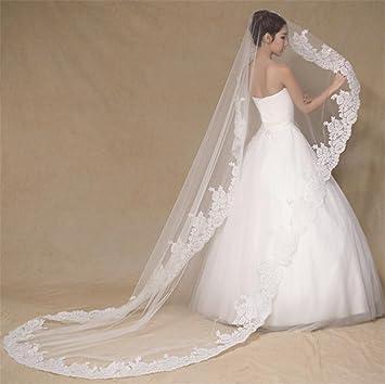 HAPPYMOOD Velo de novia Hecho a mano puro Flor de encaje Blanco o Marfil Elegante Hermosa