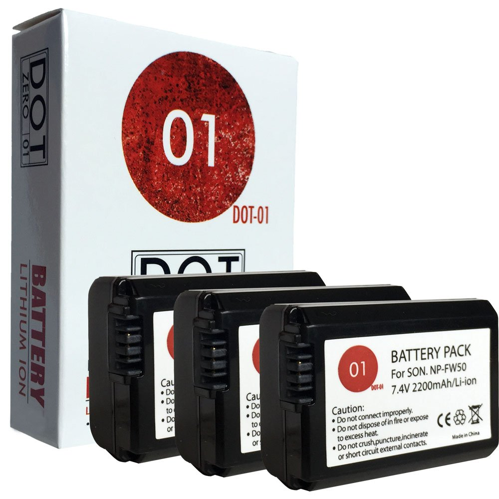 DOT-01 3x Brand Sony Alpha A5000 Batteries for Sony Alpha A5000 DSLR and Sony A5000 Battery Bundle for Sony FW50 NP-FW50