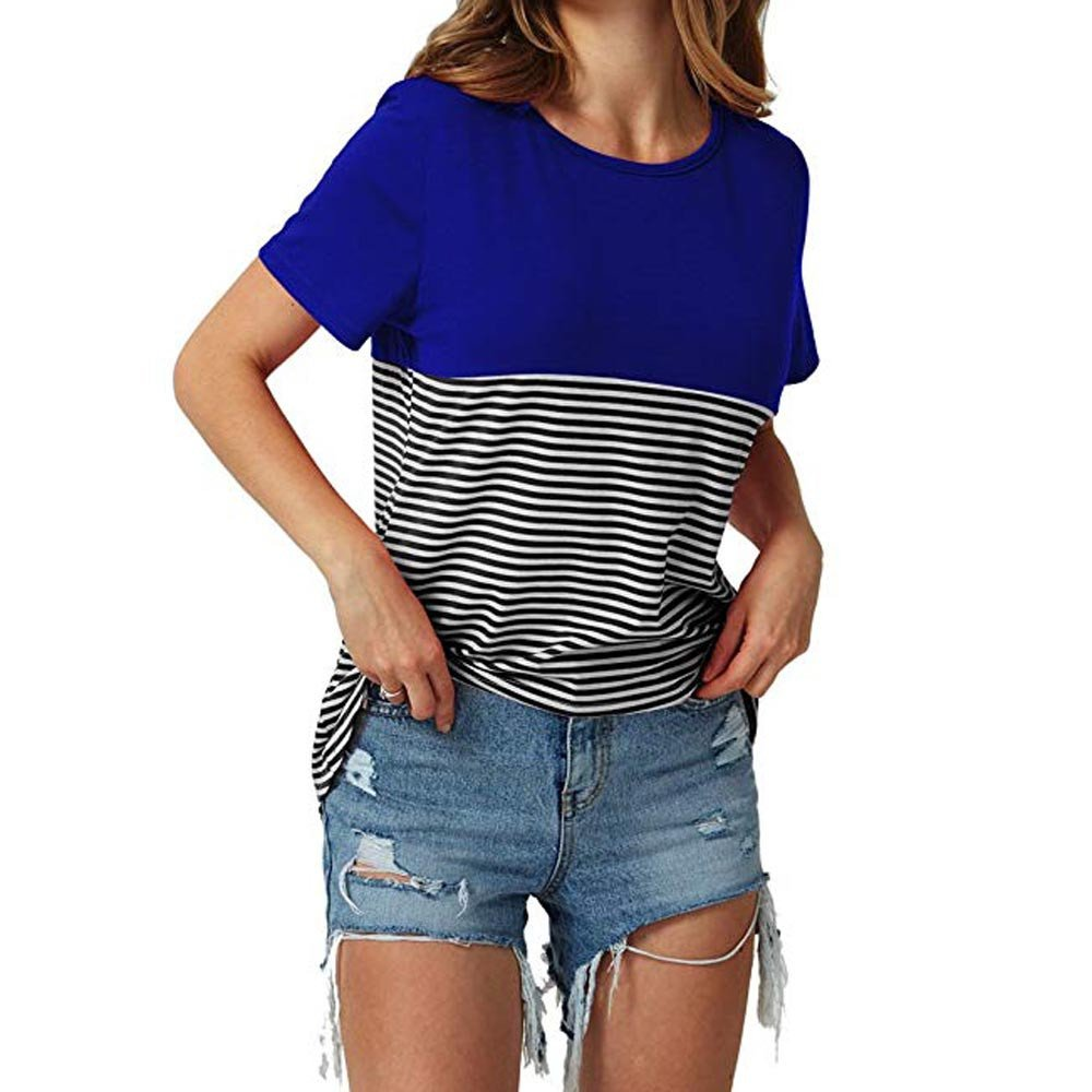 Libermall Women's Casual Short Sleeve T-Shirts Round Neck Stripe Color Block Loose Tunic Shirt Blouse Tops