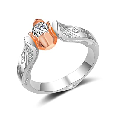 00c53107ce757 Women's Fashion Jewelry 925 Sterling Silver Rose Ring 18K Rose Gold Flower  Ring