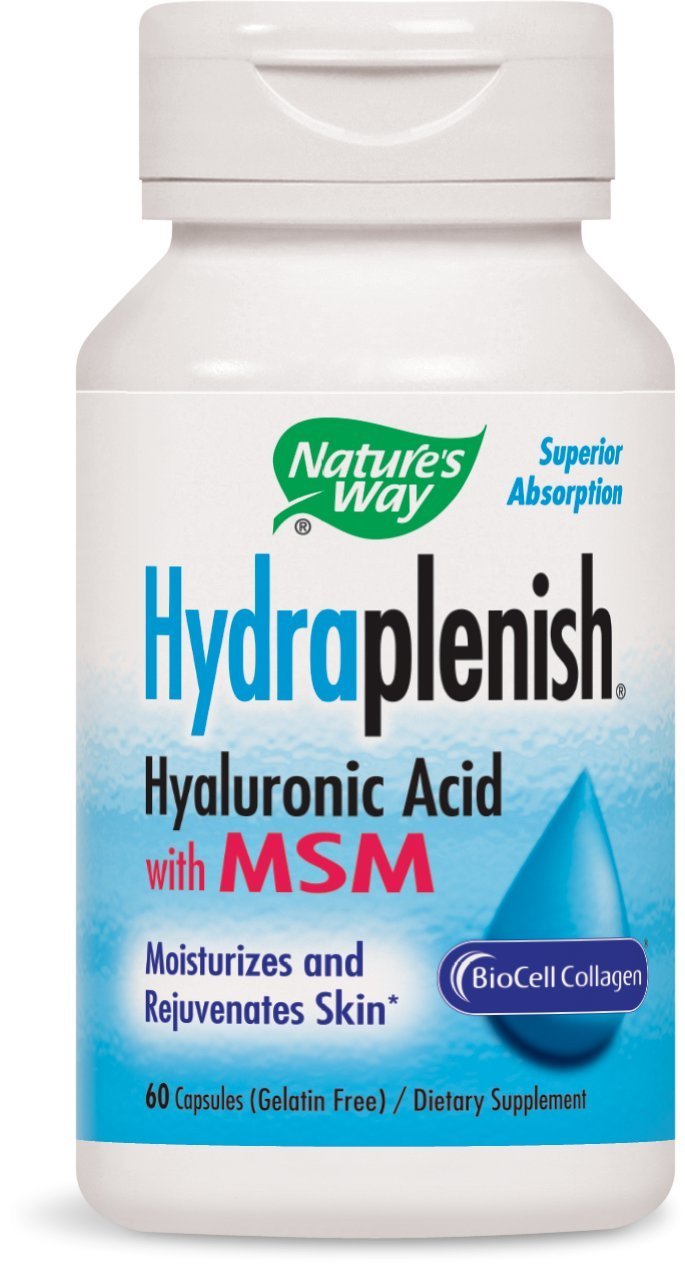 Nature's Way, Hydraplenish, Hyaluronic Acid With MSM, 60 Capsules. Pack of 5 bottles