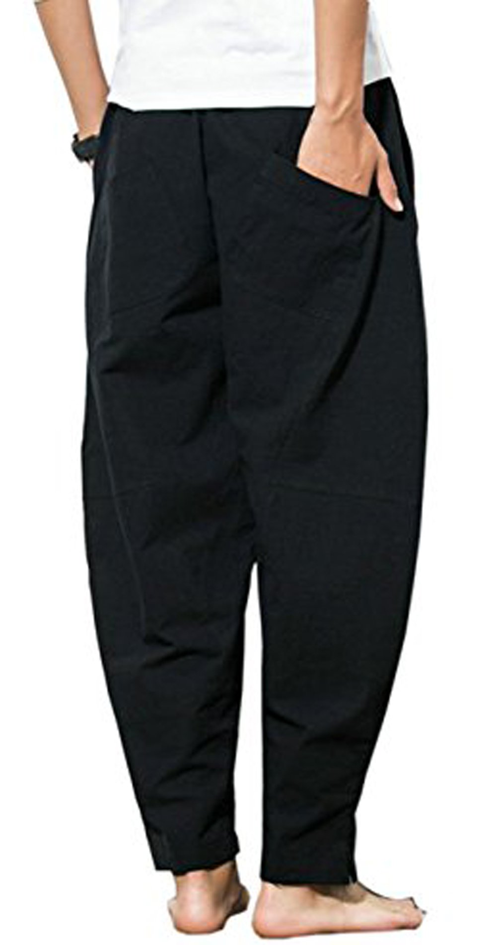 Thrivqyaf Men's Summer Casual Baggy Drawstring Cotton Beach Harem Pants Trousers (US M = Asian 2XL Waist:33''-34'', Black) by Thrivqyaf (Image #3)