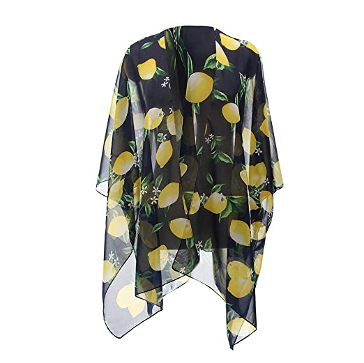 877594dae3 Swyss Womens Chiffon Floral Loose Kimono Cardigan Open Front Blouses Sheer  Summer Beachwear Swimsuit Cover up