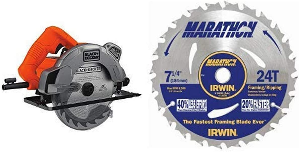 Black & Decker BDECS300C 13 Amp Circular Saw with Laser with IRWIN Tools MARATHON Carbide Corded Circular Saw Blade, 7 1/4-inch, 24T (24030)