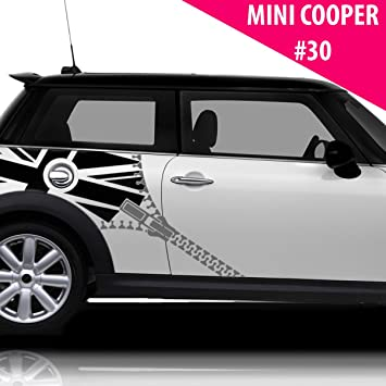 Mini cooper s side racing stripe stickers decal tuning car union jack flags