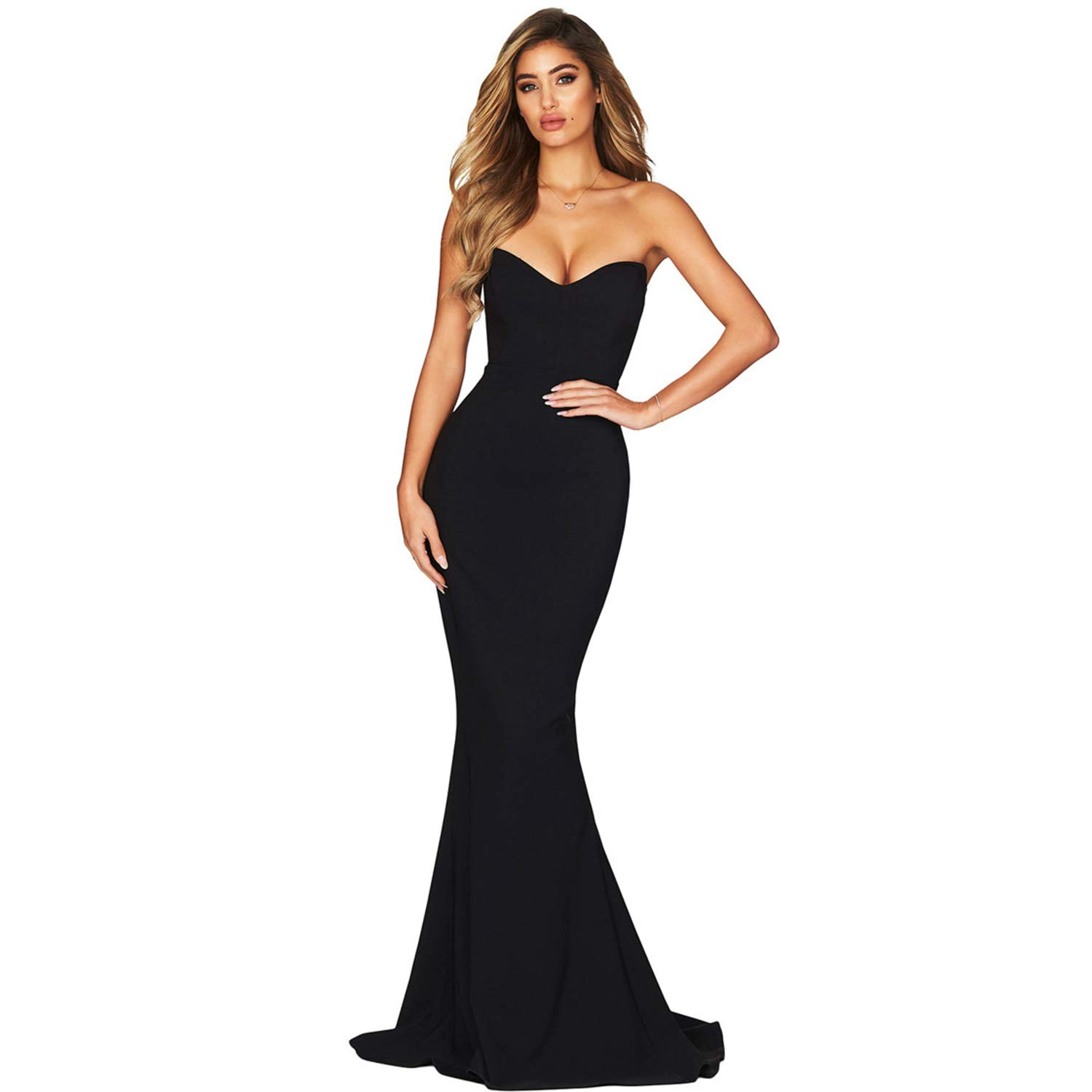 Black Women's Elegant Strapless Evening Dress Pure color Slim Long Dresses for Ladies Girls Cocktail Party Ball Gown Wear,Female Gift