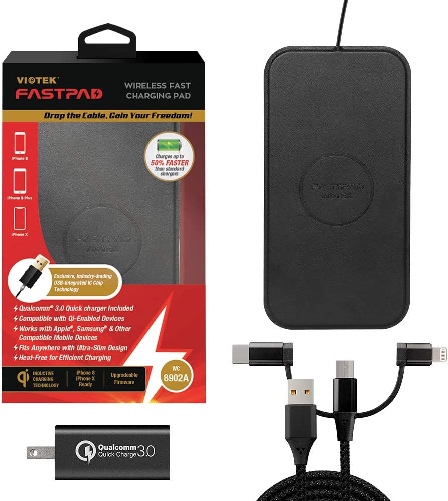 Fast Charging Water Resistant FASTPAD Qi Wireless Charger with QC 3.0 Adapter Ultra-Slim Charging Pad No Heat Rectangle