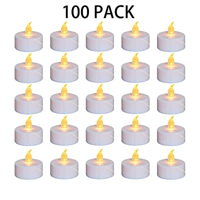 Nancia Tea Lights, 100PACK Flameless LED Tea Lights Candles, Flickering Warm Yellow, 100 Hours Battery-Powered Tea Light, Ideal Party, Wedding, Birthday, Gifts Home Decoration (100 Pack): Home Improvement