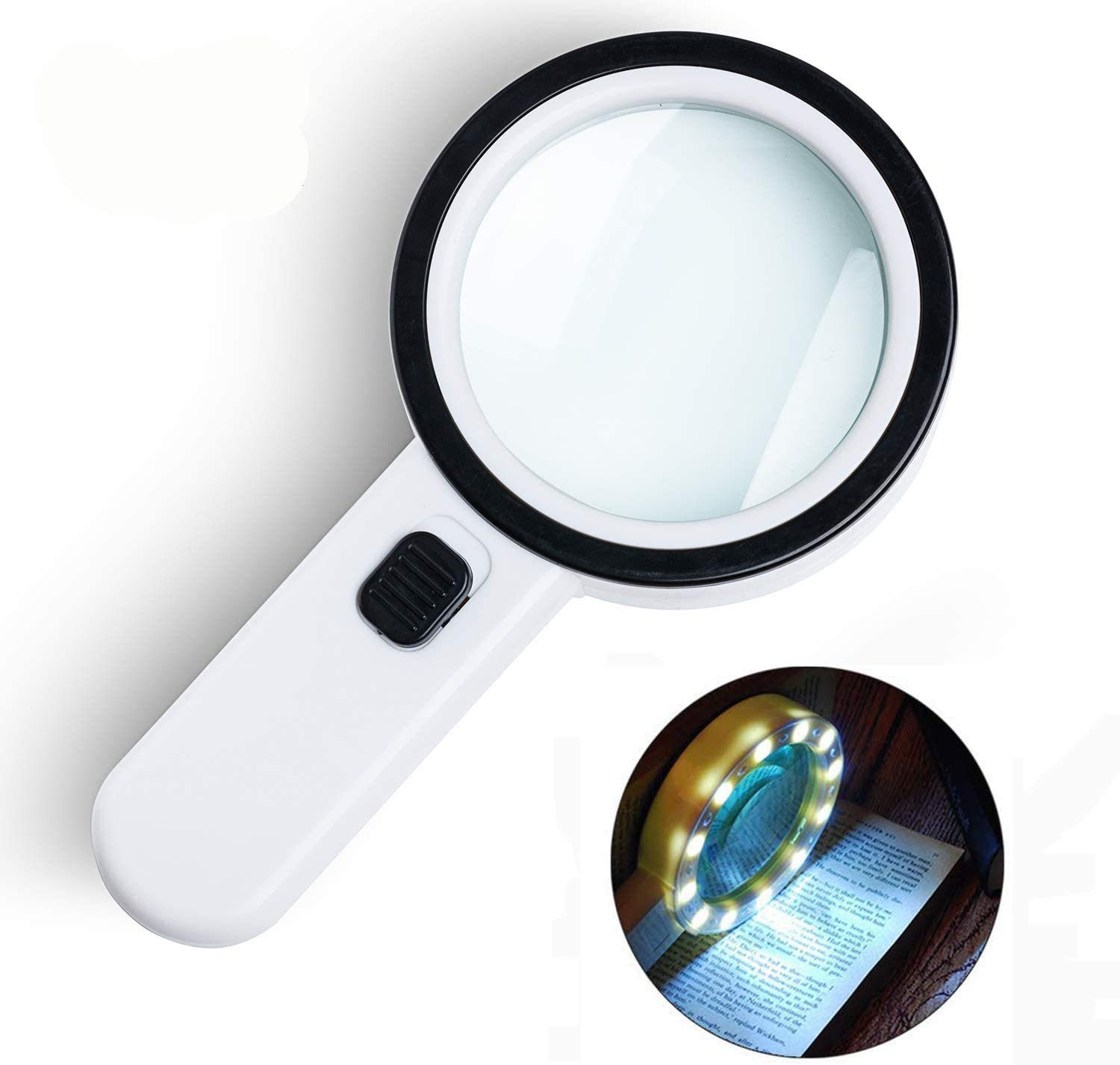 Magnifying Glass with Light, 30X Handheld Large Magnifying Glass 12 LED Illuminated Lighted Magnifier for Macular Degeneration, Seniors Reading, Soldering, Inspection, Coins, Jewelry, Exploring