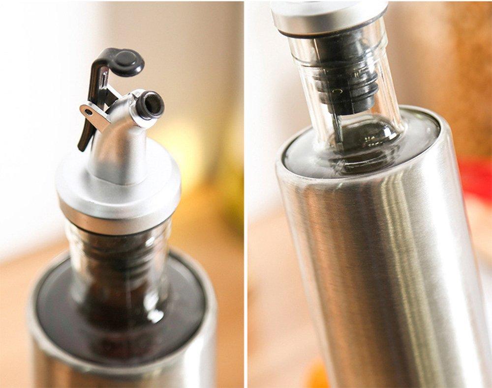 set 2 pezzi olio e aceto da 300/ml con bottiglia in vetro e acciaio inox Huavin