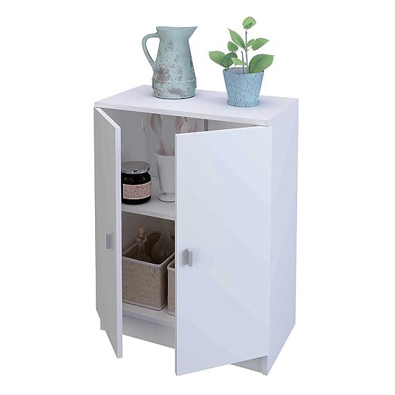 Armario bajo de cocina con 2 puertas de 60 cm de ancho, Samblo Senchi, melamina color blanco: Amazon.es: Hogar