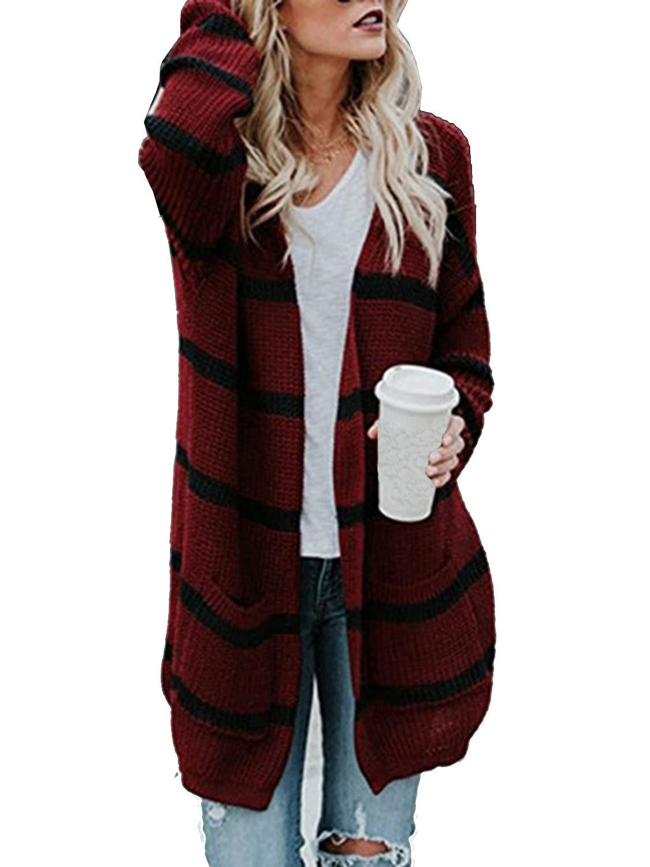 Simplee Plus Women's Chunky Long Sleeve Pocket Knit Open Stripe Sweater Cardigan