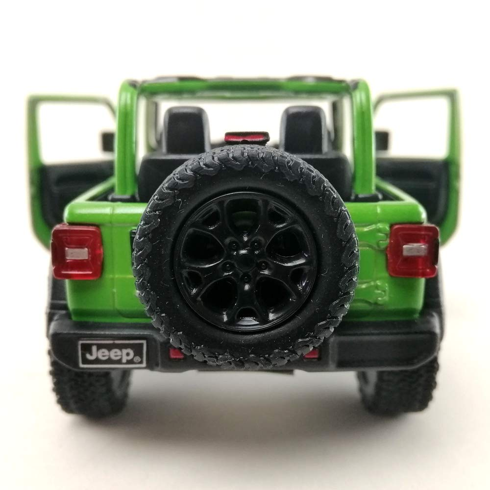 2018 Jeep Wrangler Without Hardtop Model Car Die-Cast 1:34 Scale Green Color Toy Collection Pull Back Open Door Hobby Collectible Gift
