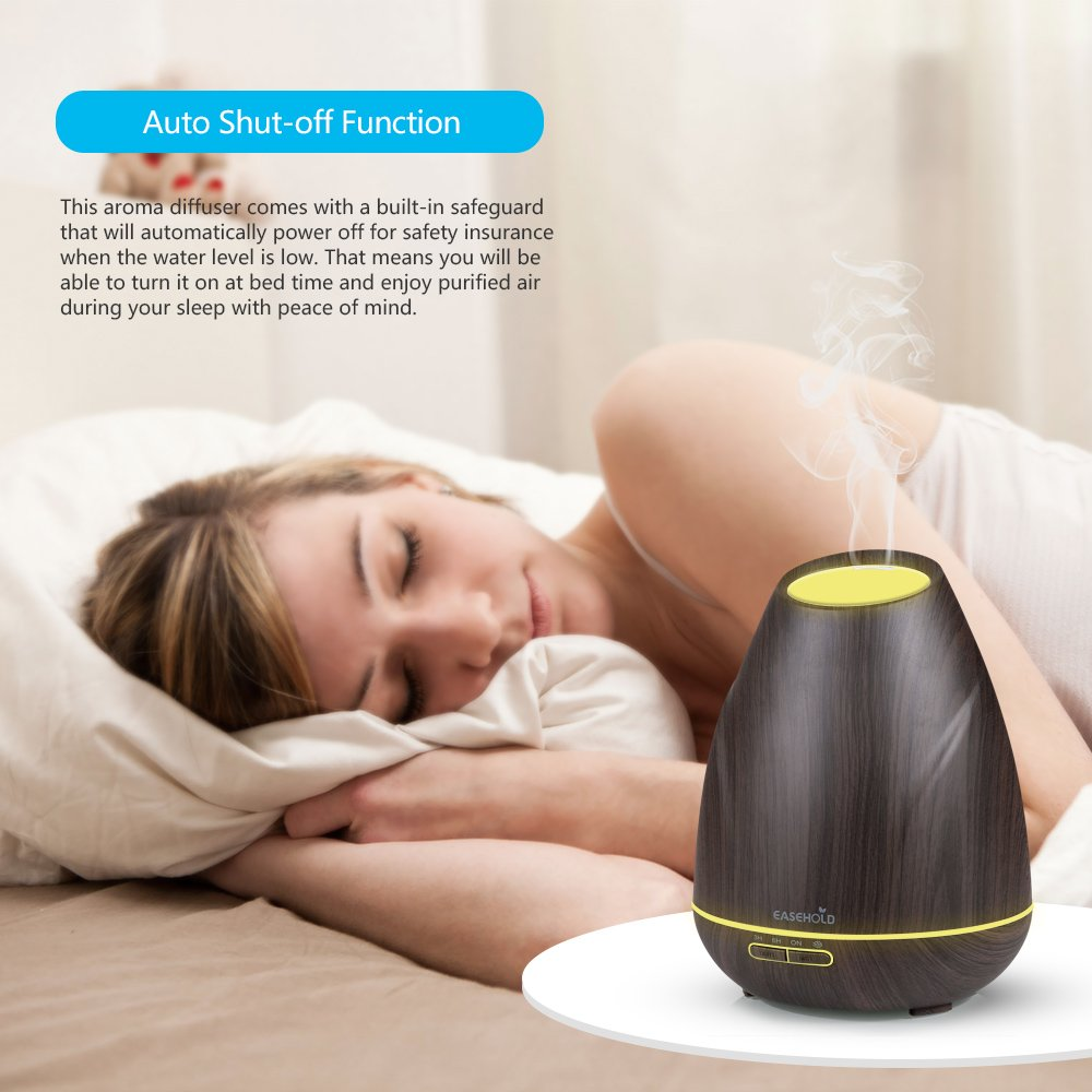 Easehold Diffuseur dar/ômes 400/ ml Diffuseur dhuiles essentielles Cool Mist Humidifer Wood Grain Finition