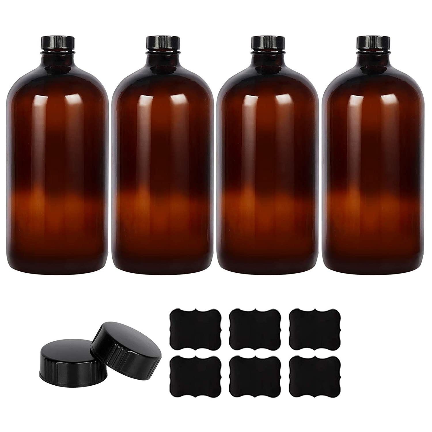 4 Pack - 1 Liter 32oz Amber Glass Boston Round Bottles with Air Tight Seal Phenolic Poly Cone Caps. Perfect Glass Containers for Secondary Fermentation,Storing Kombucha,Brewing and Juicing.
