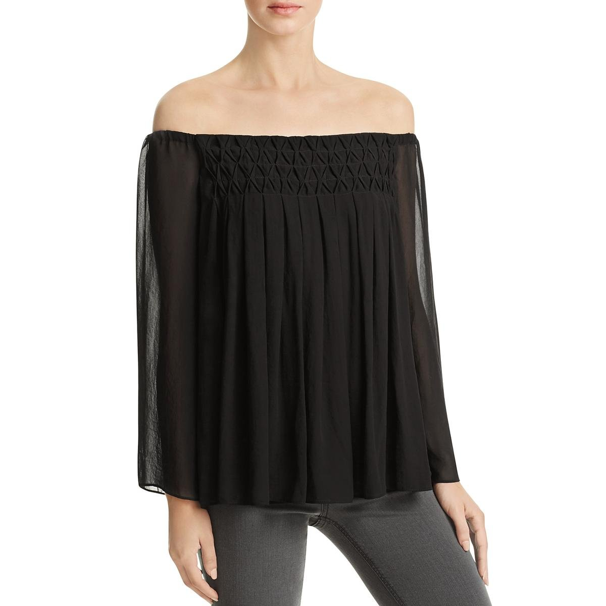 Bailey 44 Womens Pleated Chiffon Casual Top Black M