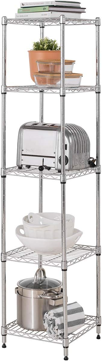 Heavy Duty 5 Tier Chrome Corner Storage Unit 115KG UDL (Massive Load Capacity of 575KG) – 1500mm H x 350mm W x 350mm D - FREE Next Working Day Delivery*