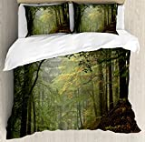 Forest Duvet Cover Set Queen Size by Ambesonne, Misty Autumn Forest with Shaded Trees Foggy Dreamy Woodland Scene, Decorative 3 Piece Bedding Set with 2 Pillow Shams, Olive and Reseda Green Brown