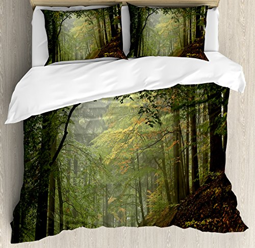 Ambesonne Forest Duvet Cover Set King Size, Misty Autumn Forest with Shaded Trees Foggy Dreamy Woodland Scene, Decorative 3 Piece Bedding Set with 2 Pillow Shams, Olive and Reseda Green Brown