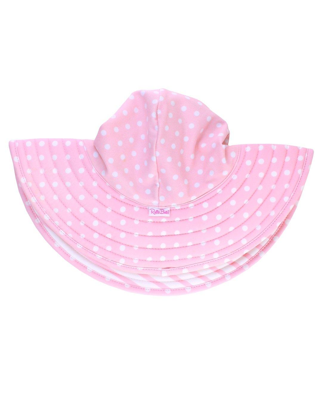 RuffleButts Little Girls Pink Polka Dot Pink Stripe Reversible Swim Hat - 12m-2T