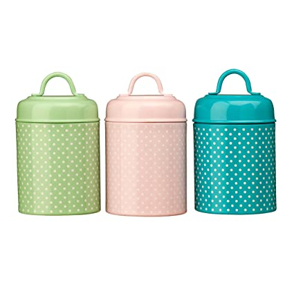 3 Piece Pastel Green Pink Blue Colours Tea Coffee Sugar Canisters