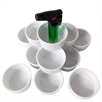 Crema Brulee Moldes ø9 cm | blancas cuencos en 6/12 Juego con flambiergerät | cerámica - Ramequín (falsas Ware) para suflés souffles ragout postres: ...