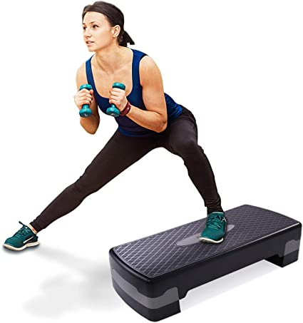"""Aerobic Stepper 27/"""" Cardio Platform Fitness Step 4″ 6″ Workout Exercise Risers"""